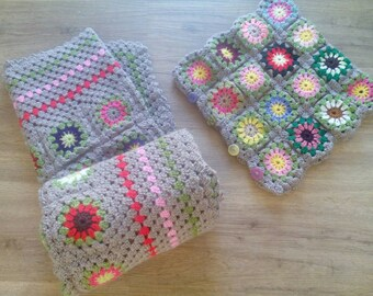 Handmade Crochet Blanket. Granny Throw with matching cushion cover. Flower Squares