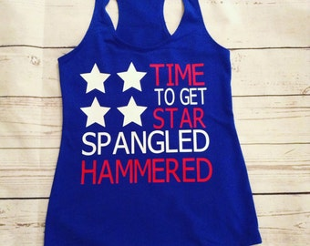 Time To Get Star Spangled Hammered// Ladies Tank Top
