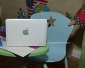 """American Girl or 18"""" Doll Sized Macbook Air Silver or White Laptop - Use with Computer Desk Classroom School Supplies"""