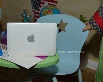 "American Girl or 18"" Doll Sized Macbook Air Silver or White Laptop - Use with Computer Desk Classroom School Supplies"