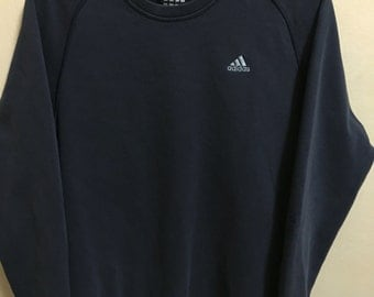 Vintage 90's Adidas Dark Blue 3 Stripes Sport Classic Design Skate Sweat Shirt Sweater Varsity Jacket Size L #A406