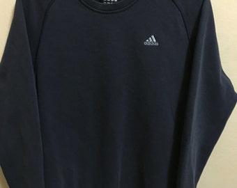 Vintage 90's Adidas Dark Blue 3 Stripes Sport Classic Design Skate Sweat Shirt Sweater Varsity Jacket Size L #A406