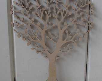 1 x Heart Tree With Roots  - 15cms - 40cms - crafting, painting, box frames, MDF