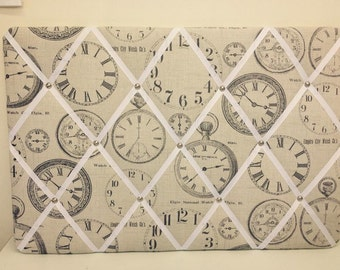 Large Vintage Clocks fabric covered memo/notice photo board