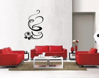 Coffee Cup with Beans removable Vinyl Wall Decal Home Décor Large