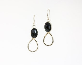 Black onyx teardrop silver earrings