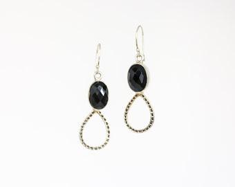 Black onyx teardrop silver earrings