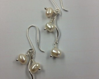 Freshwater white pearl and sterling silver dangle earrings