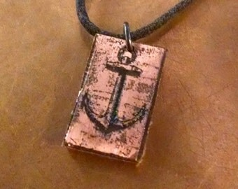 Copper etched Anchor Necklace