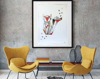 Origami Fox poster - Customizable - gilding - color decoration-living room - bedroom