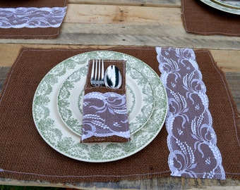 Brown Burlap and White Lace Placemat