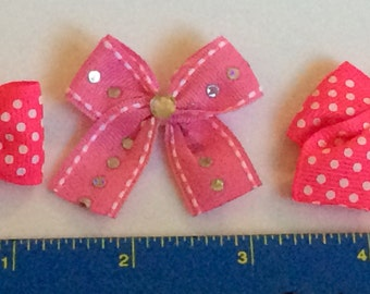 Pretty in pink dog bows. Groomers bows. 80 Bows all handmade
