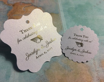 Beach themed wedding favor tags, gold foiled, personalized