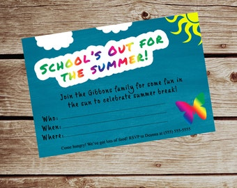 School's Out Party Invitation - DIGITAL FILE
