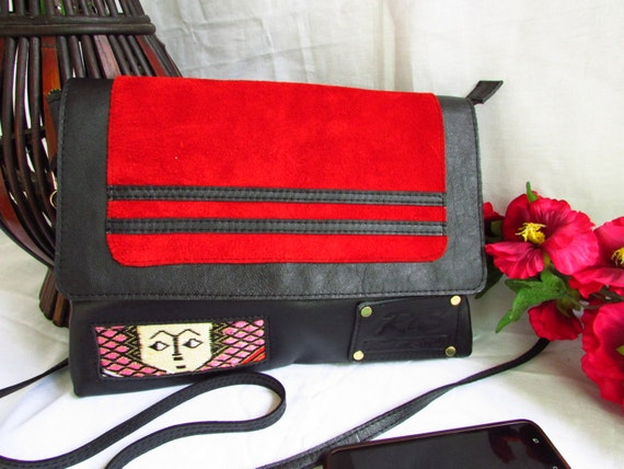 Red women clutch, red evening bag, leather evening bag, red leather bag, red crossbody, women red bag, black and red bag, colorful bag