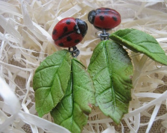 earrings with leaves, earrings made of polymer clay, cold porcelain earrings,Earrings with flowers , ladybugs