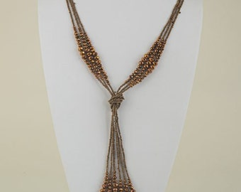 Bronze Cystal Knotted Starnds Necklace