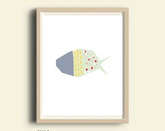 Fish print, fish art, printable fish, nautical decor, nautical prints, illustration print, fish wall art, kids room decor, fish drawing
