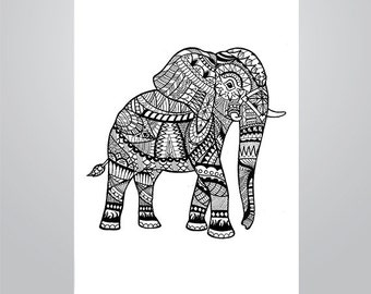 Elephant Animal Doodle   Instant Download PDF   Doodle Printables   Coloring Pages   Adults & Children   Hand drawn