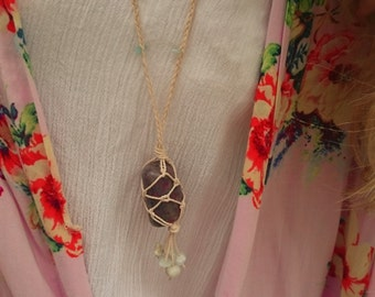 Unique handmade Ruby Cordierite necklace with Amazonite stones, healing stone