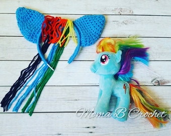 Crochet My Little Pony Headband Toddler/Child and Teen/Adult, My Little Pony Rainbow Dash Headband
