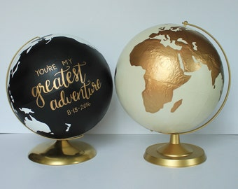 "Custom Wedding Globe – Perfect for Wedding Guestbook or Centerpiece – Hand Painted – 12"" Diameter – Travel, Boho Chic, Guestbook Alternative"