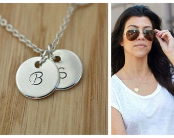 Personalized necklace, Initial disc necklace, Custom hand stamped, Sister, Mother, Symphaty, Birthstone, Sterling Silver Initials necklace