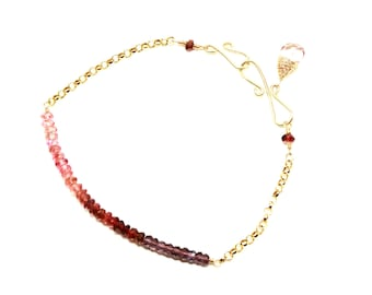 Pink Tourmaline Bracelet, Ombre Bracelet, Beaded Bracelet, Pink Tourmaline Gold, Spring Jewelry, Ombre Gemstone Bracelet, Karesza Jewelry