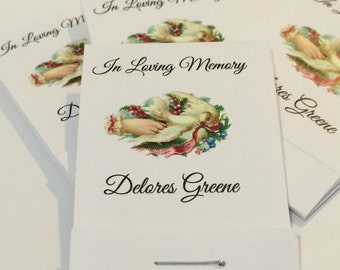Funeral Favors Peaceful Dove | 40 Matchbook Mini Notepad Card Favors | Customized Fully Assembled