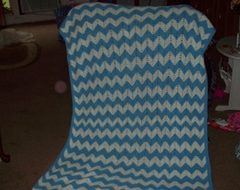 Vintage Blue and White Homemade Afghan