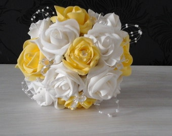ivory  wedding bouquet yellow roses ivory roses soft touch sprays wedding flowers diamante bridesmaid bouquet brides posy bridesmaid posy