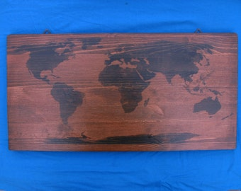 "Pine rectangular World picture ""made by hand"""