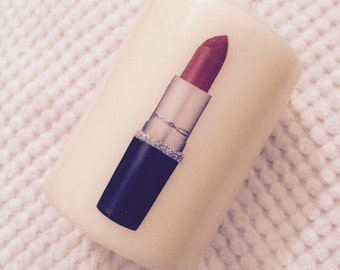 Mac lipstick inspired candle