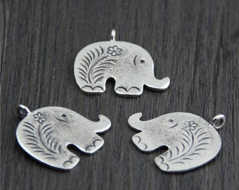 Karen hill tribe sterling silver Elephant charm, Bracelet and Necklace charms