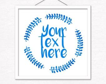 Cobalt Watercolor Wreath Custom Text Print, Free Shipping