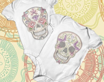 Tattoo Sugar Skull Baby Bodysuit | Baby Girl Clothes | Cute Baby Clothes | Funny Baby Bodysuit | Baby Shower Gift | Tattoo Baby Bodysuit
