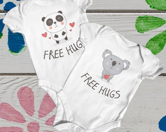 Free Hugs Panda Or Koala Baby Bodysuit | Cute Baby Clothes | Going Home Outfit | Baby Shower Gift | Newborn Baby | Funny Baby Bodysuit