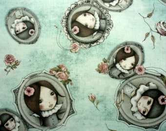 NEW! Premium cotton fabric Mirabelle - Curiosity Lost and Found TEAL