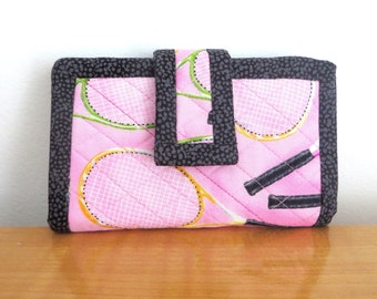 Pink Tennis Lover Wallet With Racquet Pattern