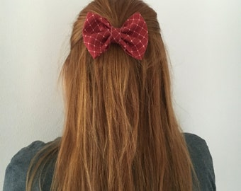 Red and Creme Pattern Bow
