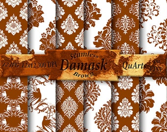 Brown Damask Digital Paper pack: Backgrounds, Chocolate Scrapbook Patterns 12x12