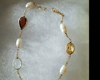 14k Yellow Gold Freshwater Pearl and Multistone Bracelet