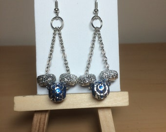 Silver and blue chain dangle earrings