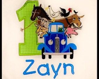 Little Blue Truck & animals Birthday Shirt