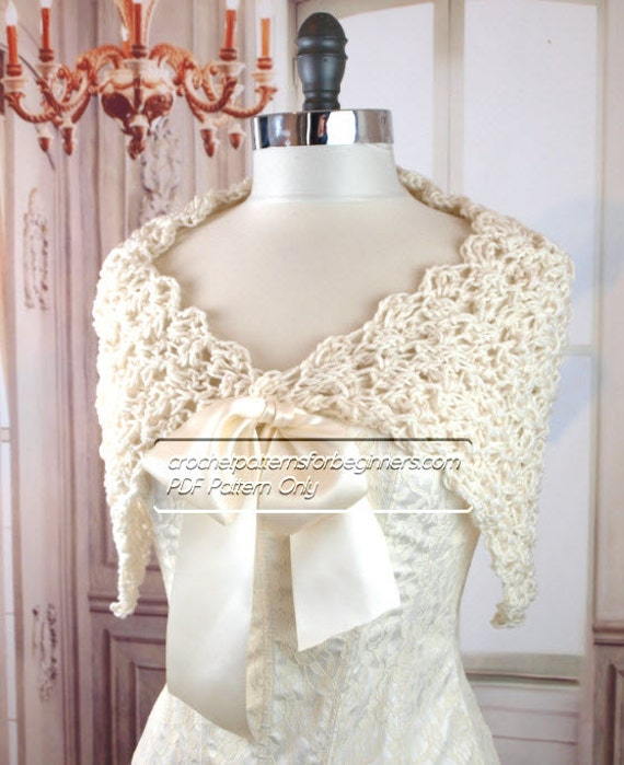 Crochet Lace Wedding Garter Pattern: Spring Crochet Wedding Shawl Pattern Easy Crochet Pattern