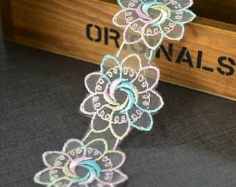 "10 yard 5cm 1.96"" wide rainbow mesh embroidery lace trim ribbon L22K320 free ship"
