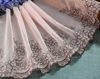 "5 yard 15cm 5.9"" wide coffee mesh embroidery lace trim ribbon L22K454 free ship"