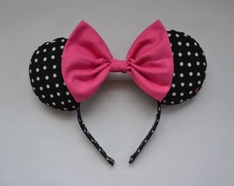 Black dot with pink bow Mickey ears