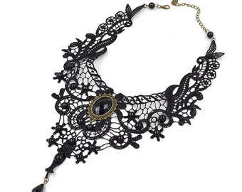 Lace Necklace Choker, Handmade Vintage Style, Retro Gothic Steampunk Goth, Lace Bead Decorated.
