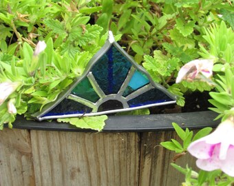 Stained Glass Triangle Garden Stake ~ Blue Triangle Stained Glass Garden Art